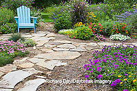 63821-19412 Flower garden with path and  blue chair. Homestead Purple Verbena, Tapien pink verbena, melampodium, IL