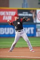 Richmond Flying Squirrels third baseman Christian Arroyo (22) warmup throw to first during a game against the Erie SeaWolves on May 27, 2016 at Jerry Uht Park in Erie, Pennsylvania.  Richmond defeated Erie 7-6.  (Mike Janes/Four Seam Images)