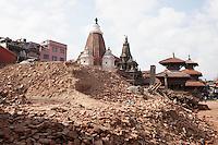 Broken structures of Pathan Dorbar Square in Kathmandu, Nepal.