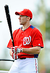 25 February 2012: Washington Nationals' infielder Stephen Lombardozzi awaits his turn in the batting cage during the first full squad Spring Training workout at the Carl Barger Baseball Complex in Viera, Florida. Mandatory Credit: Ed Wolfstein Photo