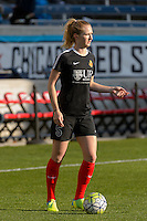 Bridgeview, IL, USA - Saturday, April 23, 2016: Western New York Flash midfielder Samantha Mewis (5) warms up before a regular season National Women's Soccer League match between the Chicago Red Stars and the Western New York Flash at Toyota Park. Chicago won 1-0.