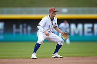 Durham Bulls shortstop Willy Adames (1) on defense against the Buffalo Bison at Durham Bulls Athletic Park on April 25, 2018 in Allentown, Pennsylvania.  The Bison defeated the Bulls 5-2.  (Brian Westerholt/Four Seam Images)