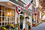 Shops on Main Street decorated for Autumn in Stockbridge, MA, USA