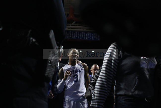 UK guard Tyler Ulis (3) is all smiles after the UK Men's Basketball game versus the University of Vanderbilt at Rupp Arena. Saturday, January 23, 2016 in Lexington, Ky. UK wins 76-57 Photo by Joel Repoley | Staff