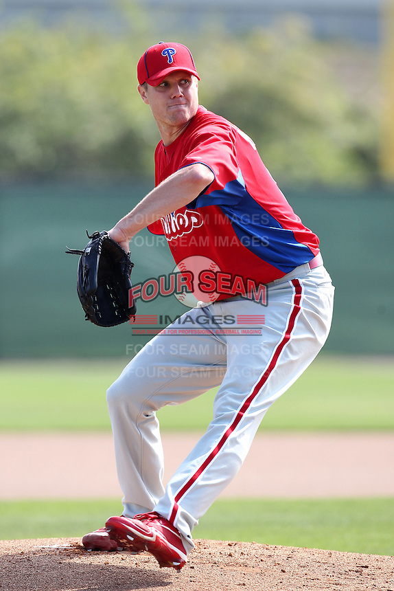 Philadelphia Phillies pitcher Jonathan Papelbon #58 during practice at the Carpenter Complex on February 27, 2012 in Clearwater, Florida.  (Mike Janes/Four Seam Images)