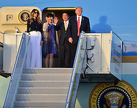 www.acepixs.com<br /> <br /> February 10 2017, West Palm Beach, FL<br /> <br /> President Donald Trump and his wife Melania Trump arrive with Japanese Prime Minister Shinzo Abe and his wife Akie Abe on Air Force One at the Palm Beach International Airport as they prepare to spend part of the weekend together at Mar-a-Lago resort on February 10, 2017 in West Palm Beach, Florida.<br /> <br /> By Line: Solar/ACE Pictures<br /> <br /> ACE Pictures Inc<br /> Tel: 6467670430<br /> Email: info@acepixs.com<br /> www.acepixs.com