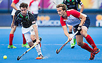 LONDON -  Unibet Eurohockey Championships 2015 in  London. Germany v France . Christopher Wesley (l) with French Jean-Baptiste Forgues . WSP Copyright  KOEN SUYK