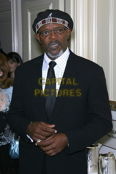 SAMUEL L. JACKSON.Archbishop Desmond Tutu Honored by Artists for a New South Africa for his 75th Birthday Celebration - Arrivals held at the Regent Beverly Wilshire Hotel, Beverly Hills, California, USA..September 18th, 2006.Ref: ADM/ZL.half length black suit jacket glasses hat kangol.www.capitalpictures.com.sales@capitalpictures.com.©Zach Lipp/AdMedia/Capital Pictures.