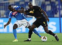 13th June 2020; Stadio San Paolo, Naples, Campania, Italy; Coppa Italia Football, Napoli versus Inter Milan; Romelu Lukaku of Inter holds off the challenge from Kalidou Koulibaly of Napoli