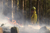 A wildland firefighter is obscured by the heat from the the flames of the 2002 Missionary Ridge Fire north of Durango, Colorado.