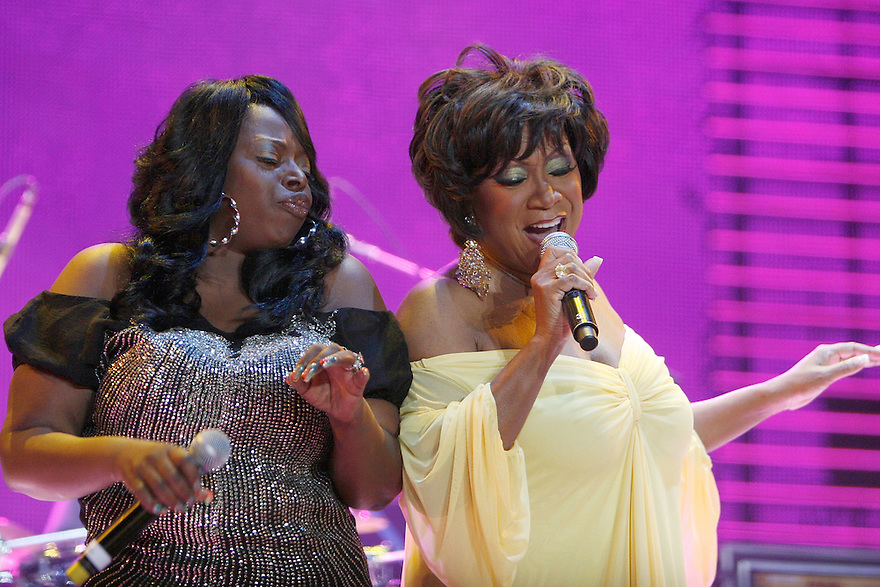 NEW ORLEANS - JULY 05:  Angie Stone and  Pattie LaBelle  performs at the 2008 Essence Music Festival held at the Ernest N. Morial Convention Center and Louisiana Superdome on July 5, 2008 in New Orleans.  (Photo by Soul Brother/FilmMagic)