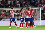 Atletico de Madrid's players celebrate goal during La Liga match between Atletico de Madrid and SD Huesca at Wanda Metropolitano Stadium in Madrid, Spain. September 25, 2018. (ALTERPHOTOS/A. Perez Meca)