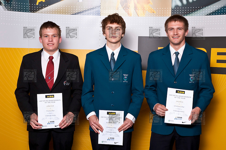 Boys Underwater Hocker finalists Callum Searle, Richard Hoksbergen & Ian Grimson. ASB College Sport Auckland Secondary School Young Sports Person of the Year Awards held at Eden Park on Thursday 12th of September 2009.