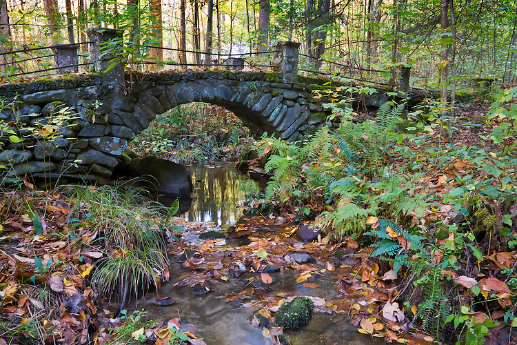 Old historic stone foot bridge; Great Smoky Mountains National Park, TN