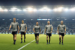 KANSAS CITY, KS - SEPTEMBER 20: The match officials walk off of the field after warming up before the game. From left: Assistant Referee Andrew Bigelow, Fourth Official Ismail Elfath, Referee Hilario Chico Grajeda, Fifth Official Jeff Muschik, and Assistant Referee Jason White. Sporting Kansas City hosted the New York Red Bulls on September 20, 2017 at Children's Mercy Park in Kansas City, KS in the 2017 Lamar Hunt U.S. Open Cup Final. Sporting Kansas City won the match 2-1.