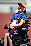 Mark Langston, of Winnemucca, celebrates after winning the wheelchair obstacle course during the Special Olympics Nevada 2013 Summer Games in Reno, Nev., on Saturday, June 1, 2013. <br /> Photo by Cathleen Allison