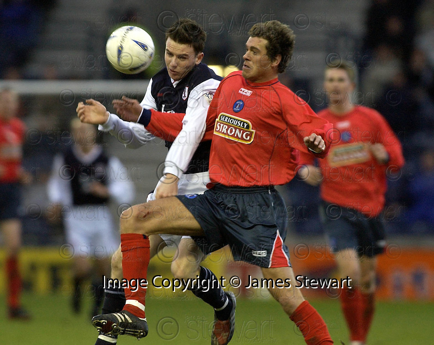 10/1/04          Copyright Pic : James Stewart.File Name : jspa12_raith_v_killie.JOHN BOYLE AND GORDON GREER CHALLENGE FOR THE BALL....Payment should be made to :-.James Stewart Photo Agency, 19 Carronlea Drive, Falkirk. FK2 8DN      Vat Reg No. 607 6932 25.Office     : +44 (0)1324 570906     .Mobile  : +44 (0)7721 416997.Fax         :  +44 (0)1324 570906.E-mail  :  jim@jspa.co.uk.If you require further information then contact Jim Stewart on any of the numbers above.........