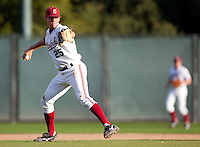STANFORD, CA - March 29, 2011: Stephen Piscotty of Stanford baseball throws to first after fielding a groundball during Stanford's game against St. Mary's at Sunken Diamond. Stanford won 16-14.