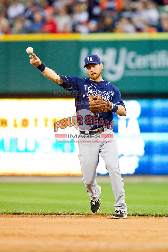 Tampa Bay Rays second baseman Ben Zobrist (18) makes a throw to first base against the Detroit Tigers at Comerica Park on June 4, 2013 in Detroit, Michigan.  The Tigers defeated the Rays 10-1.  Brian Westerholt/Four Seam Images