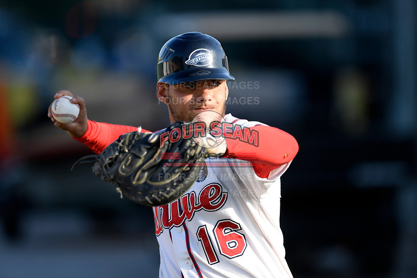 Catcher Alan Marrero (16) of the Greenville Drive warms up before a game against the West Virginia Power on Friday, May 17, 2019, at Fluor Field at the West End in Greenville, South Carolina. West Virginia won, 10-4. (Tom Priddy/Four Seam Images)