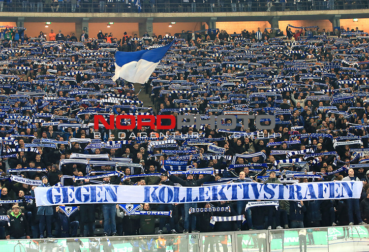 03.11.2018, OLympiastadion, Berlin, GER, DFL, 1.FBL, Hertha BSC VS. RB Leipzig, <br /> DFL  regulations prohibit any use of photographs as image sequences and/or quasi-video<br /> <br /> im Bild Hertha-Fankurve<br /> <br />       <br /> Foto &copy; nordphoto / Engler