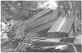 C&amp;S freight train wreck in Platte River Canyon.<br /> C&amp;S  Platte River Canyon, CO  Taken by Carter, G. S. - 1912