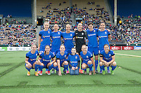 Seattle, WA - Saturday, May 14, 2016: The starting XI for the Seattle Reign FC. The Portland Thorns FC and the Seattle Reign FC played to a 1-1 tie during a regular season National Women's Soccer League (NWSL) match at Memorial Stadium.
