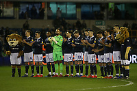 Millwall players pay their respects to Gordon Banks who died today with a minute's applause pre-match during Millwall vs Sheffield Wednesday, Sky Bet EFL Championship Football at The Den on 12th February 2019