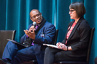 NWA Democrat-Gazette/BEN GOFF @NWABENGOFF<br /> Dr. John Colbert, superintendent of Fayetteville Public Schools, talks as fellow panelist Anna Beaulieu, president of Fayetteville Education Association and a teacher at Fayetteville High, listens Saturday, Feb. 9, 2019, during the Northwest Arkansas Education Town Hall at the Jones Center in Springdale.