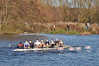167 .SCO-St. Catz M1 .IM3.8+ .St Catherines Coll (O). Wallingford Head of the River. Sunday 27 November 2011. 4250 metres upstream on the Thames from Moulsford railway bridge to Oxford University's Fleming Boathouse in Wallingford. Event run by Wallingford Rowing Club.