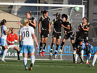 FC Gold Pride wall stops the ball. FC Gold Pride tied the Chicago Red Stars 1-1 at Buck Shaw Stadium in Santa Clara, California on June 7th, 2009.