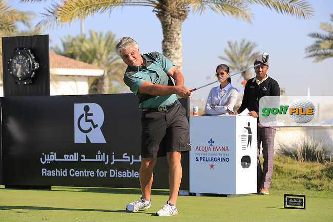 Dr.Collum Boyce on the 10th tee to start his match during the 2015 Abu Dhabi Invitational Am-Am event held at Yas Links Golf Course, Abu Dhabi.: Picture Eoin Clarke, www.golffile.ie: 1/26/2015