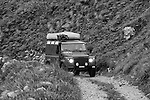 2011 Land Rover Defender 110 TD4 Hard Top crossing the unsurfaced Stol mountain pass from Sedlo to Zaga in the Julian Alps, Slovenia. --- No releases available, but releases may not be necessary for certain uses. Automotive trademarks are the property of the trademark holder, authorization may be needed for some uses.