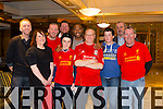 Elaine Feeley, Daniel O'Rourke, Stephen Burn, Leo Burn, Fred McDonough, Michael McHugh, Josh Corbett, Craig Corbett, Owen Hand with John Barnes at the Kerry Liverpool Supporters Club, an Evening with LFC Legend John Barnes at the Brandon Hotel on Friday