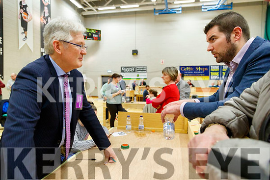 Padraig Burke Returning Officer and Brendan Griffin, Fine Gael pictured at the count centre in Killarney on Sunday last.