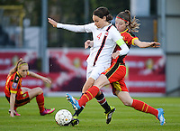 20140410 - LEUVEN , BELGIUM : Belgian Nicky Van Den Abbeele (right) pictured tackling Norway Ingvild Stensland (4) during the female soccer match between Belgium and Norway, on the seventh matchday in group 5 of the UEFA qualifying round to the FIFA Women World Cup in Canada 2015 at Stadion Den Dreef , Leuven . Thursday 10th April 2014 . PHOTO DAVID CATRY
