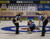 Glasgow. SCOTLAND. Scotland's, Vicki ADAMS, during the &quot;hack&quot; at  the  Le Gruy&egrave;re European Curling Championships. round robin match between Scotland vs Sweden at the  2016 Venue, Braehead  Scotland<br /> Sunday  20/11/2016<br /> <br /> [Mandatory Credit; Peter Spurrier/Intersport-images]