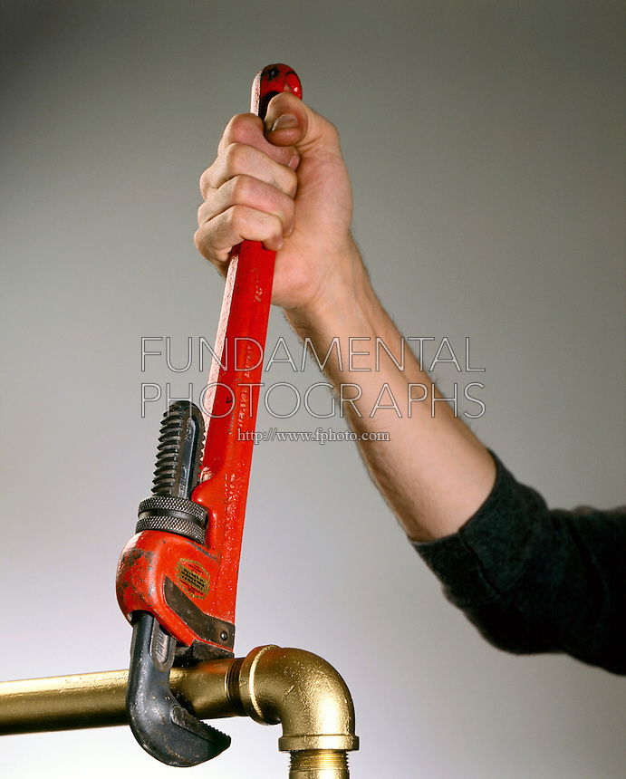 TORQUE: USEFULNESS OF LONG PLUMBER'S WRENCH<br /> Rotation Force<br /> The torque (force that produces rotation) exerted by the wrench is proportional to the force and to the lever arm.