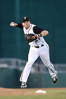 Lansing Lugnuts third baseman Mitch Nay (21) throws to first during a game against the South Bend Silver Hawks on June 6, 2014 at Cooley Law School Stadium in Lansing, Michigan.  South Bend defeated Lansing 13-5.  (Mike Janes/Four Seam Images)