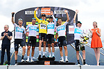 Team Sky win the team classification of the 2018 Criterium du Dauphine 2018 at the end of Stage 7 running 136km from Moutiers to Saint Gervais Mont Blanc, France. 10th June 2018.<br /> Picture: ASO/Alex Broadway | Cyclefile<br /> <br /> <br /> All photos usage must carry mandatory copyright credit (© Cyclefile | ASO/Alex Broadway)