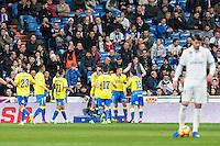 Pedro Tanausu Tana celebrates after scoring a goal  during the match of Spanish La Liga between Real Madrid and UD Las Palmas at  Santiago Bernabeu Stadium in Madrid, Spain. March 01, 2017. (ALTERPHOTOS / Rodrigo Jimenez) /NortePhoto.com