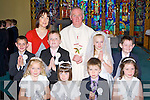 Coolick NS, Kilcummin pupils who received their first Holy communion in Our lady of Lourdes church, Kilcummin on Saturday front row l-r: Claire Stagg, anna Hannagan, Adam O'Connor, Aoireann Moriarty. Back row: Christopher Moynihan, Conor O'Leary, Siofra Foley and Evan Fitzgerald-Buckley  with Fr Joe Begley and teacher Tara O'Donoghue..