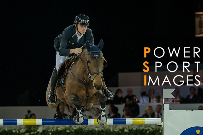 Gregory Wathelet of Belgium riding Lilly Lordanos during the Hong Kong Jockey Club Trophy competition, part of the Longines Masters of Hong Kong on 10 February 2017 at the Asia World Expo in Hong Kong, China. Photo by Marcio Rodrigo Machado / Power Sport Images
