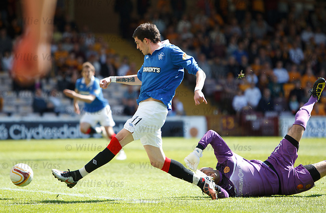 Kyle Lafferty takes the ball around Motherwell keeper Darren Randolph to score for Rangers
