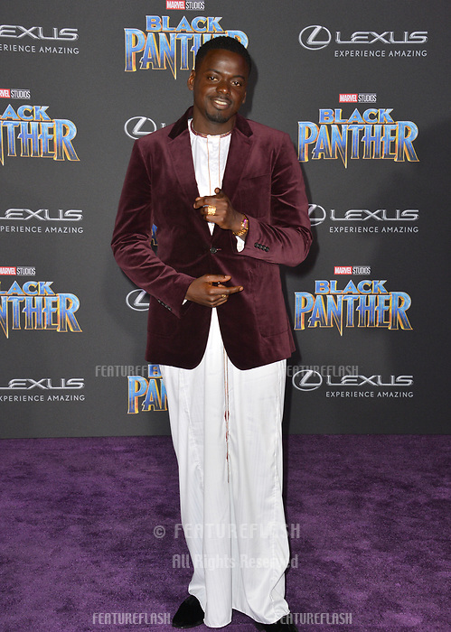 Daniel Kaluuya at the world premiere for &quot;Black Panther&quot; at the Dolby Theatre, Hollywood, USA 29 Jan. 2018<br /> Picture: Paul Smith/Featureflash/SilverHub 0208 004 5359 sales@silverhubmedia.com