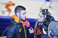 SCHAATSEN: HEERENVEEN: 29-01-14-2013, IJsstadion Thialf, Perslunch Schorttrack Olympische selectie, Sjinkie Knegt, ©foto Martin de Jong
