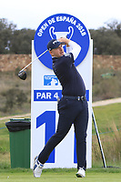 Matt Wallace (ENG) on the 11th tee during Round 2 of the Open de Espana 2018 at Centro Nacional de Golf on Friday 13th April 2018.<br /> Picture:  Thos Caffrey / www.golffile.ie<br /> <br /> All photo usage must carry mandatory copyright credit (&copy; Golffile | Thos Caffrey)