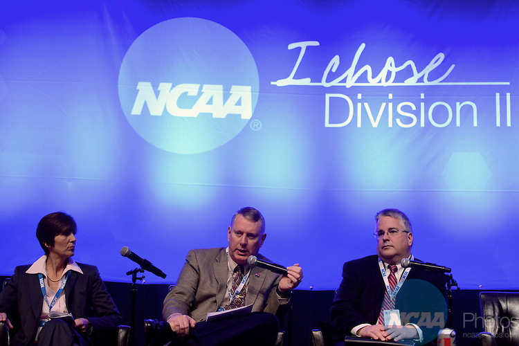 18 JAN 2013: Division II Presidents and Chancellors Summit Business Session at the 2013 NCAA Convention held at the Gaylord Texan in Grapevine, TX. Stephen Nowland/NCAA Photos.Pictured: Tom Hosty, Shep Cooper, Bridget Lyons