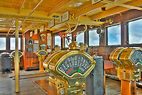 RMS Queen Mary, Quarterdeck Bridge, engine order telegraph or E.O.T.,  chadburn, Hotel, Long Beach, CA, California, USA High dynamic range imaging (HDRI or HDR)