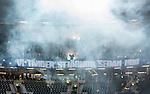 Solna 2015-10-04 Fotboll Allsvenskan AIK - Malm&ouml; FF :  <br /> R&ouml;k efter att Malm&ouml;s supportrar eldat med bengaler inf&ouml;r matchen mellan AIK och Malm&ouml; FF <br /> (Foto: Kenta J&ouml;nsson) Nyckelord:  AIK Gnaget Friends Arena Allsvenskan Malm&ouml; MFF supporter fans publik supporters tifo r&ouml;k